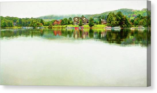 Cloudy Day On The Lake Canvas Print