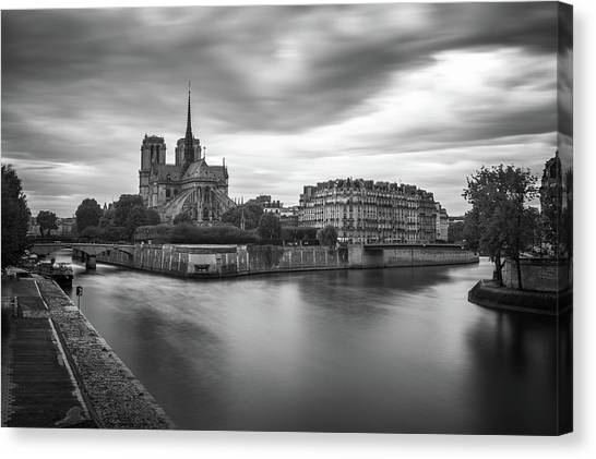 Cloudy Day On The Seine Canvas Print