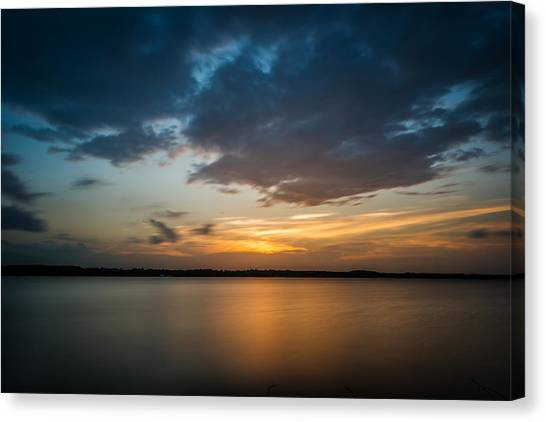Cloudy Lake Sunset Canvas Print