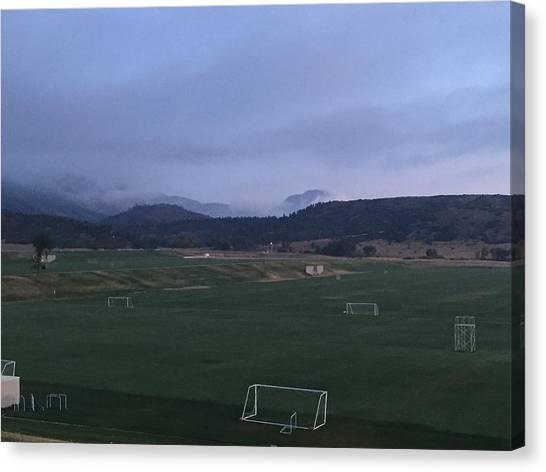 Cloudy Morning At The Field Canvas Print