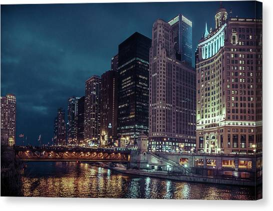 Cloudy Night Chicago Canvas Print