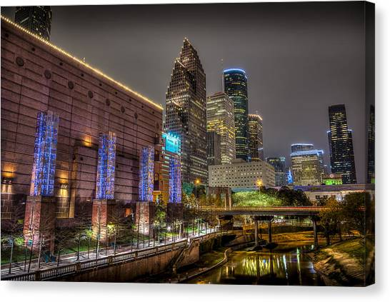 Cloudy Night In Houston Canvas Print