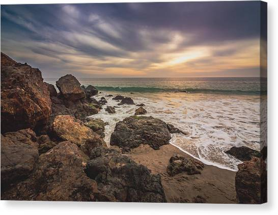 Cloudy Point Dume Sunset Canvas Print