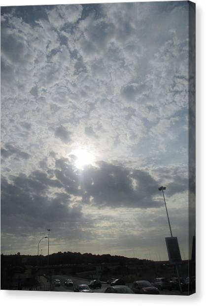 Big Sky Canvas Print - Cloudy Sky With Street Illumination by Anamarija Marinovic