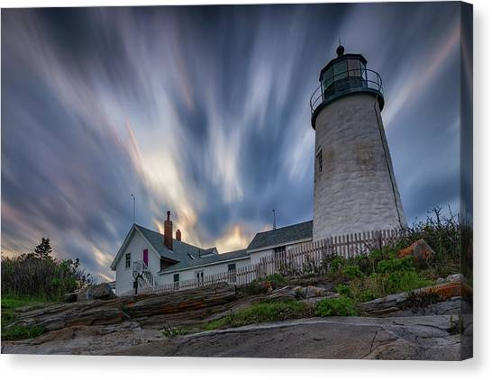 Cloudy Sunset At Pemaquid Point Canvas Print