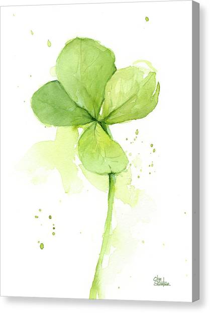 Clover Canvas Print - Clover Watercolor by Olga Shvartsur