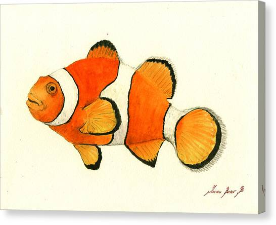 Clown Art Canvas Print - Clown Fish by Juan Bosco