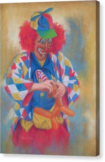 Clown Making Balloon Animals Canvas Print by Diane Caudle