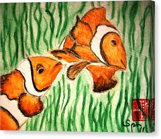 Clowning Fish Canvas Print by Spencer  Joyner