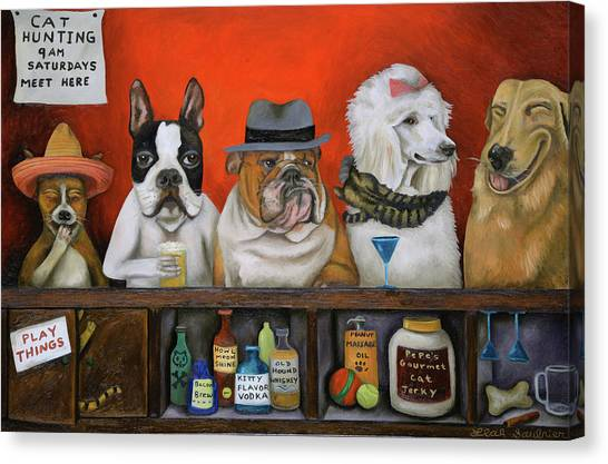 English Bull Dogs Canvas Print - Club K9 by Leah Saulnier The Painting Maniac