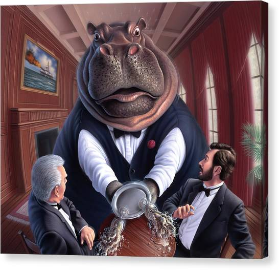 Hippos Canvas Print - Clumsy by Jerry LoFaro