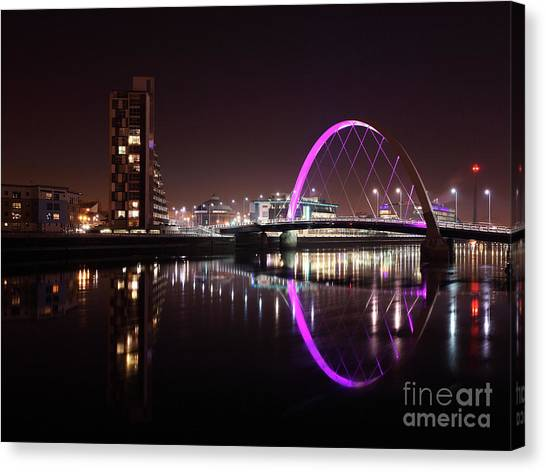 Clyde Arc Night Reflections Canvas Print