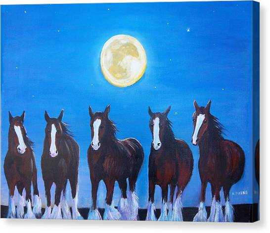 Clydesdales In Moonlight Canvas Print