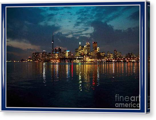 Cn  Tower And Toronto Down Town Water Front Beauty At Night Full Blast Photo Canvas Print