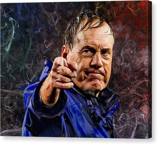 Tom Brady Canvas Print - Coach Bill Belichick by Scott Wallace Digital Designs