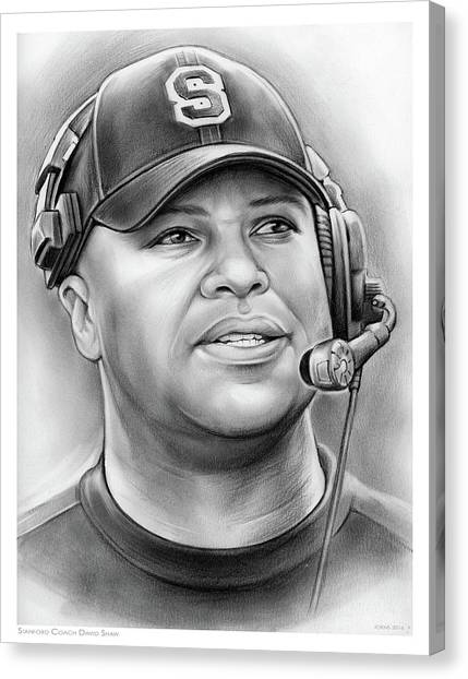 Stanford University Canvas Print - Coach David Shaw by Greg Joens