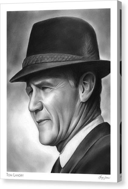 Superbowl Canvas Print - Coach Tom Landry by Greg Joens