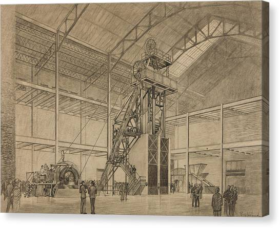 Pen And Ink Drawing Canvas Print - Coal Mine Hoist by Percy Hale Lund