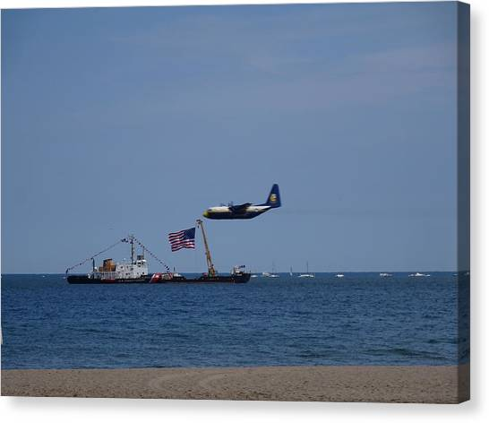 Canvas Print - Coast Guard Boat Meets Plane by Red Cross