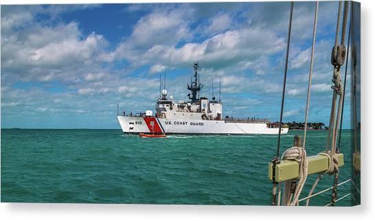 Coast Guard Canvas Print - Coast Guard Heading Home by Betsy Knapp