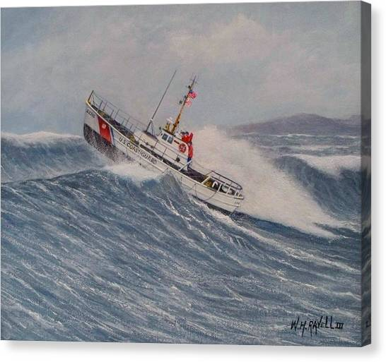 Coast Guard Canvas Print - Coast Guard Motor Lifeboat Intrepid Version 2 by William H RaVell III