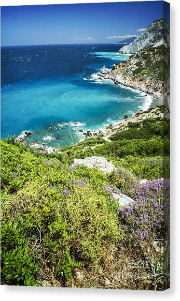Greece Canvas Print - Coast Of Greece by Jelena Jovanovic