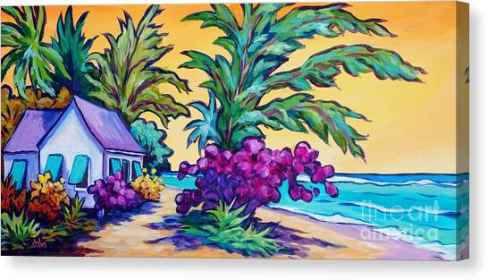 Tropical Stain Glass Canvas Print - Coast Road Home by John Clark