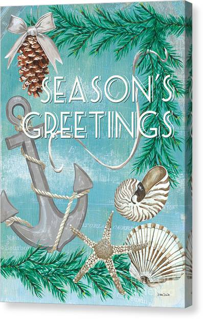 Design Canvas Print - Coastal Christmas Card by Debbie DeWitt