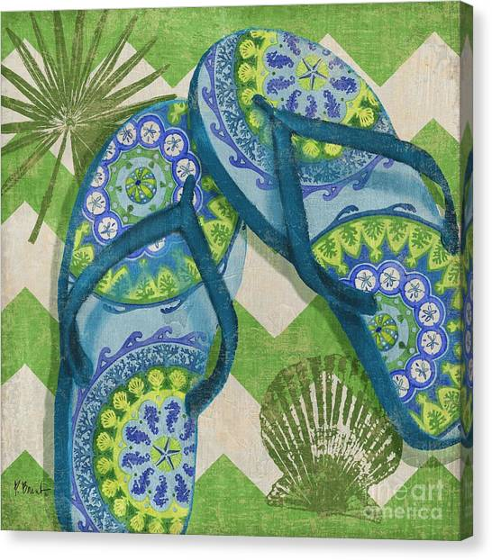 Coastal Flip Flops I Canvas Print by Paul Brent