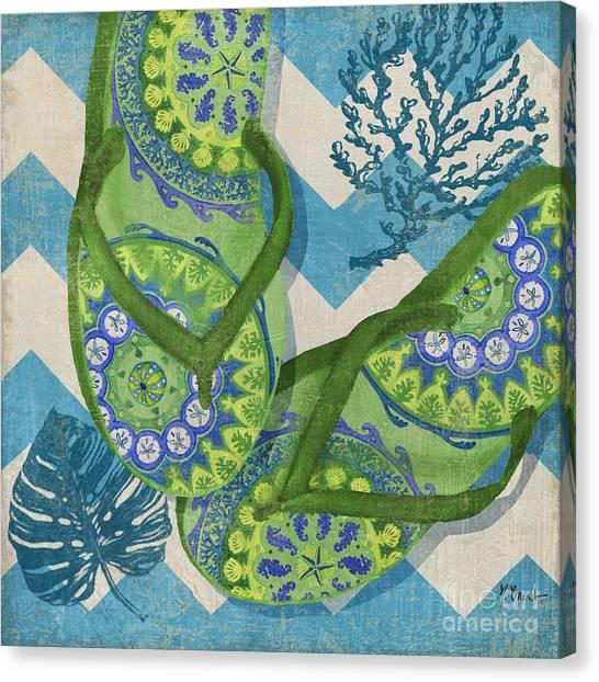 Coastal Flip Flops II Canvas Print by Paul Brent