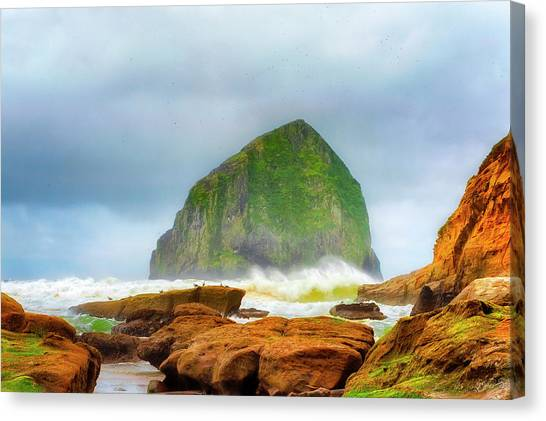 Coastal Storm At Haystack Canvas Print