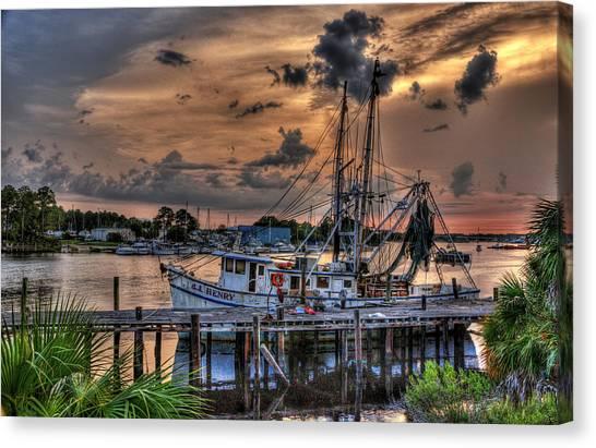 Shrimp Boats Canvas Print - Coastal Sunset by Alex Owen