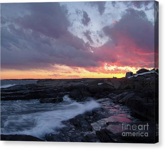 Coastal Sunset Cape Neddick - York Maine  -21056 Canvas Print