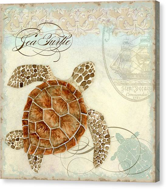 Turtles Canvas Print - Coastal Waterways - Green Sea Turtle 2 by Audrey Jeanne Roberts