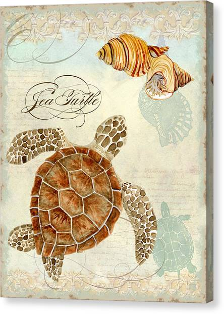 Coastal Waterways - Green Sea Turtle Rectangle 2 Canvas Print