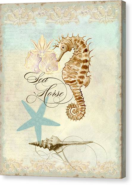 Cottage Style Canvas Print - Coastal Waterways - Seahorse Rectangle 2 by Audrey Jeanne Roberts