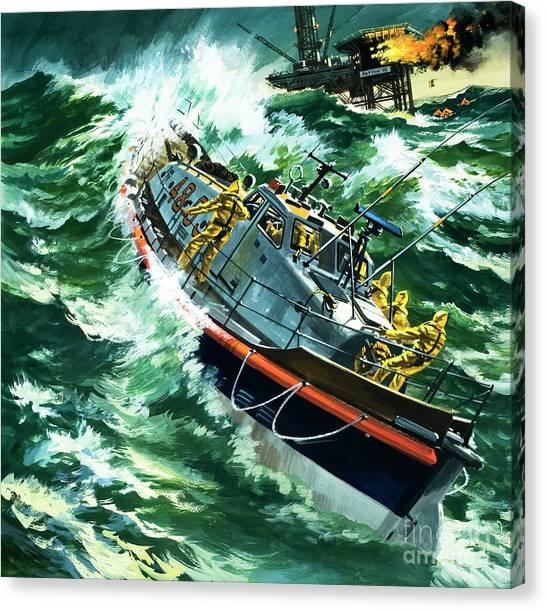 Coast Guard Canvas Print - Coastguard Lifeboat by Wilf Hardy