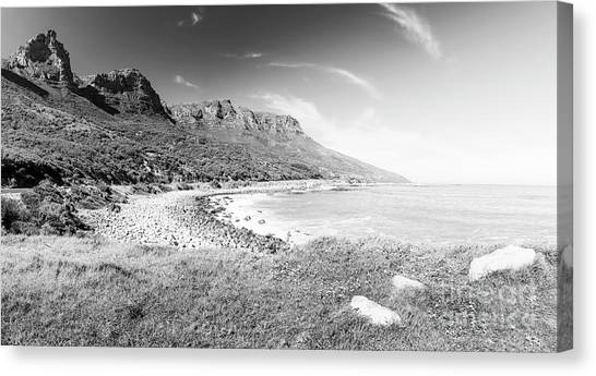Canvas Print featuring the photograph Coastline In South Africa Black And White by Tim Hester