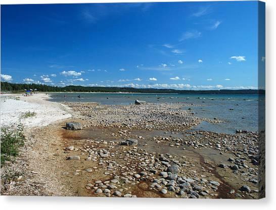Coastline Of Lake Michigan  Near Petoskey State Park - Little Traverse Bay Canvas Print