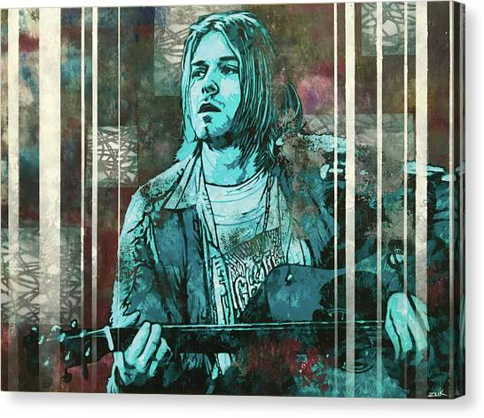 Pearl Jam Canvas Print - Cobain - All Apologies by Bobby Zeik