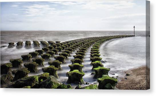 Groin Canvas Print - Cobbald Point Suffolk Uk by Martin Newman