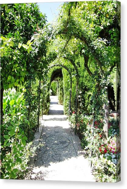 Cobble Stone Garden Walkway In Spain Canvas Print