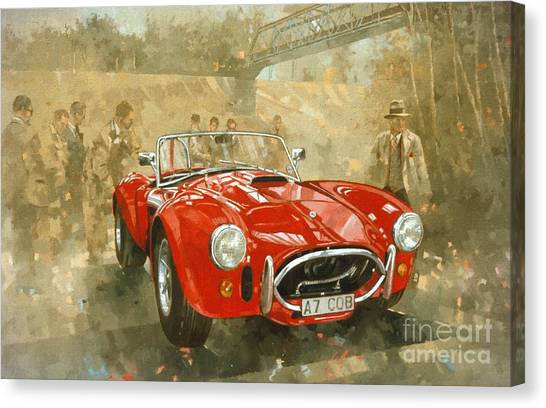 Racecar Drivers Canvas Print - Cobra At Brooklands by Peter Miller