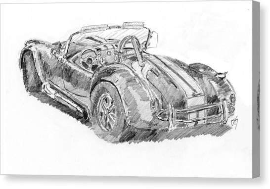 Classic Car Drawings Canvas Print - Cobra Sketch by David King