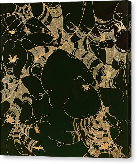 Spider Web Canvas Print - Cobwebs And Insects by Japanese School