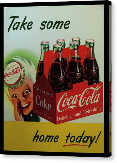Canvas Print featuring the photograph Coca Cola Antique Sign by Chris Flees