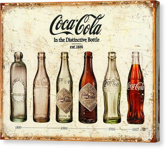 Coca Cola Canvas Print - Coca-cola Bottle Evolution Vintage Sign by Tony Rubino