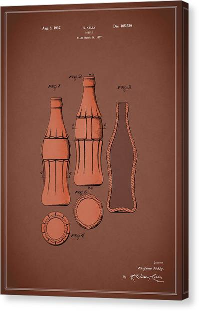 Pepsi Canvas Print - Coca Cola Bottle Patent 1937 by Mark Rogan