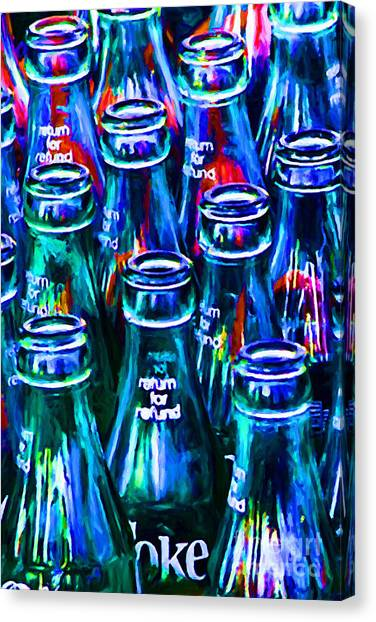 Coca-cola Coke Bottles - Return For Refund - Painterly - Blue Canvas Print