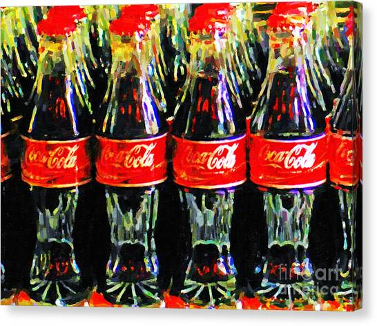 Canvas Print featuring the photograph Coca Cola Coke Bottles by Wingsdomain Art and Photography